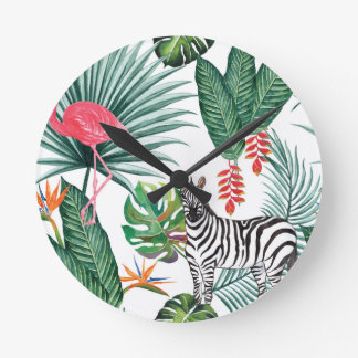 Tropical Watercolor Print- Zebra and Flamingo Round Clock