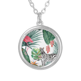 Tropical Watercolor Print- Zebra and Flamingo Silver Plated Necklace
