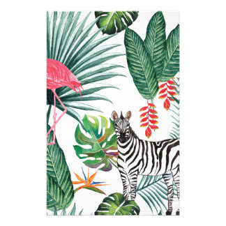 Tropical Watercolor Print- Zebra and Flamingo Stationery