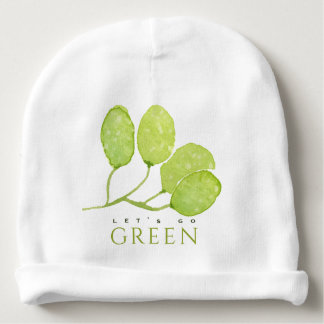 TROPICAL WATERCOLOUR FOLIAGE LEAF LET'S GO GREEN BABY BEANIE
