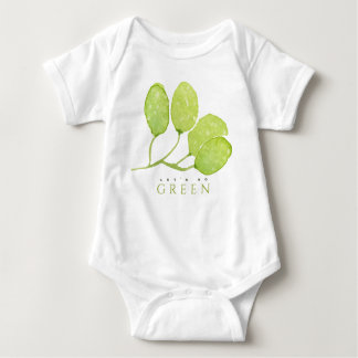 TROPICAL WATERCOLOUR FOLIAGE LEAF LET'S GO GREEN BABY BODYSUIT
