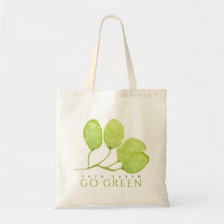 TROPICAL WATERCOLOUR FOLIAGE SAVE EARTH GO GREEN TOTE BAG
