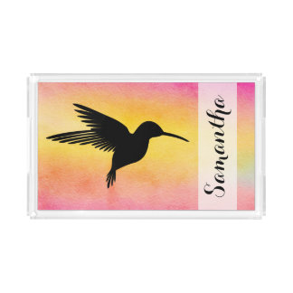 Tropical Watercolour Hummingbird Serving Tray