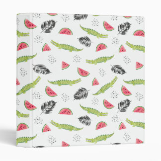 Tropical Watermelon & Crocodile Pattern Binder