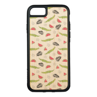 Tropical Watermelon & Crocodile Pattern Carved iPhone 8/7 Case