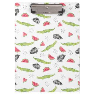 Tropical Watermelon & Crocodile Pattern Clipboard