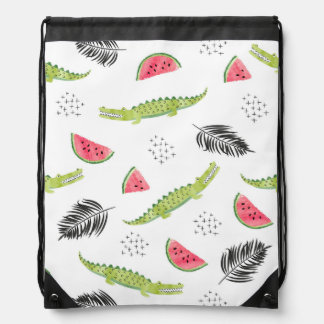 Tropical Watermelon & Crocodile Pattern Drawstring Bag