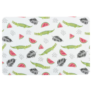 Tropical Watermelon & Crocodile Pattern Floor Mat