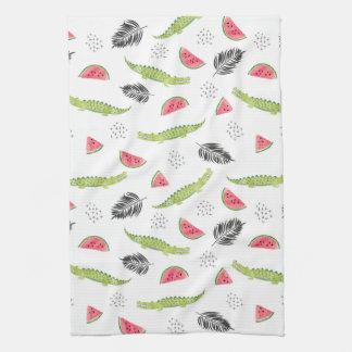 Tropical Watermelon & Crocodile Pattern Kitchen Towel