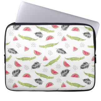 Tropical Watermelon & Crocodile Pattern Laptop Sleeve