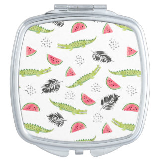 Tropical Watermelon & Crocodile Pattern Mirror For Makeup