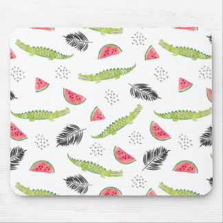 Tropical Watermelon & Crocodile Pattern Mouse Pad