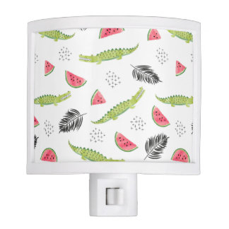 Tropical Watermelon & Crocodile Pattern Night Lites