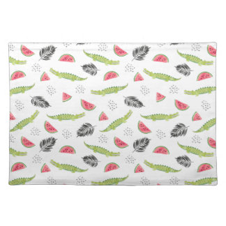 Tropical Watermelon & Crocodile Pattern Placemat
