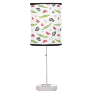 Tropical Watermelon & Crocodile Pattern Table Lamp
