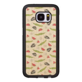 Tropical Watermelon & Crocodile Pattern Wood Samsung Galaxy S7 Case