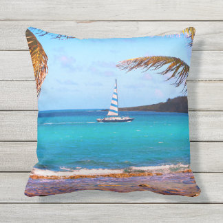 Tropical Waters and Sailboat Throw Pillow