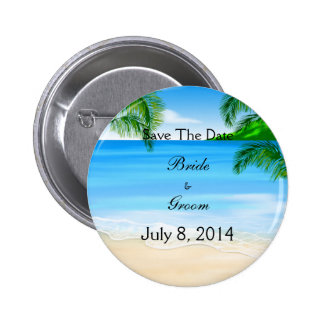 Tropical Waters Beach Wedding Save The Date 2 Inch Round Button