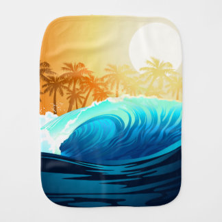 Tropical wave at sunrise burp cloth