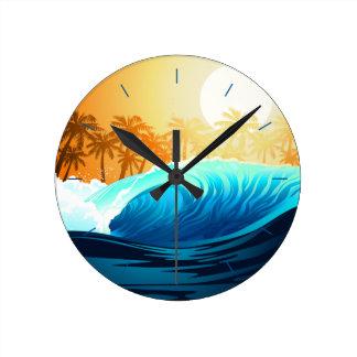 Tropical wave at sunrise wall clock