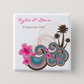 Tropical Waves Pink Hibiscus Beach Wedding Button