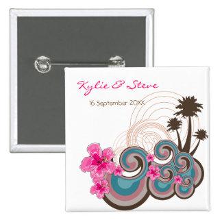 Tropical Waves Pink Hibiscus Beach Wedding Button