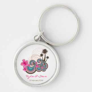 Tropical Waves & Pink Hibiscus Thank You / Gift / Silver-Colored Round Keychain