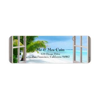 Tropical Wedding Beach Scene Return Address Label