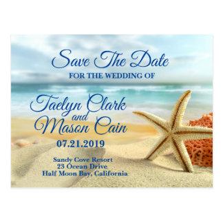 Tropical Wedding Beach Scene Save The Date Card
