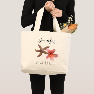 Tropical Wedding Maid of Honor Bridal Party Gift Large Tote Bag