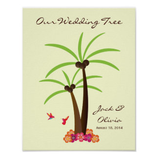 Tropical Wedding Palm Tree Thumbprint Guestbook Poster