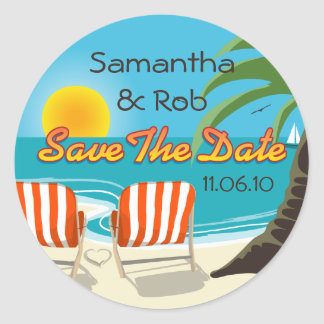 Tropical Wedding Save The Date Classic Round Sticker