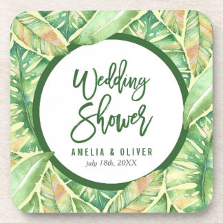 Tropical Wedding Shower Green Watercolor Leaves Coaster