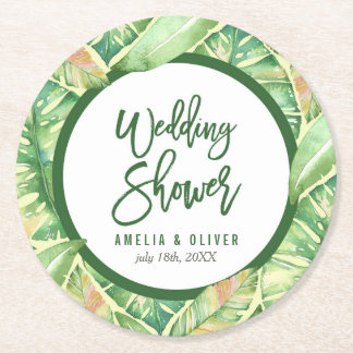 Tropical Wedding Shower Green Watercolor Leaves Round Paper Coaster