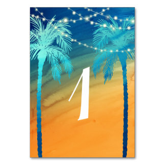 Tropical Wedding Strings of Lights Table Numbers Table Card