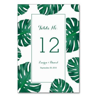 Tropical Wedding Table Numbers Table Cards