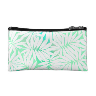Tropical white and green leaves cosmetic bag