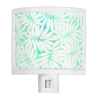 Tropical white and green leaves night light