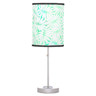 Tropical white and green leaves table lamp