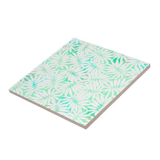 Tropical white and green leaves tile