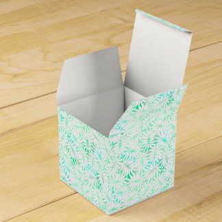 Tropical white and green leaves wedding favor box