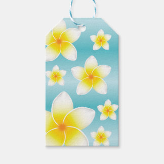 Tropical White Frangipani Flowers On Blue Gift Tags