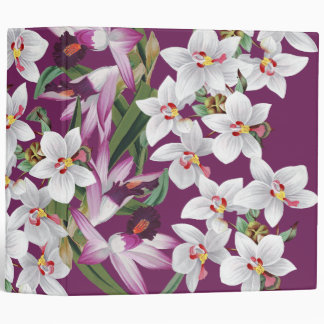 Tropical White Island Orchid Flowers Floral 3 Ring Binder