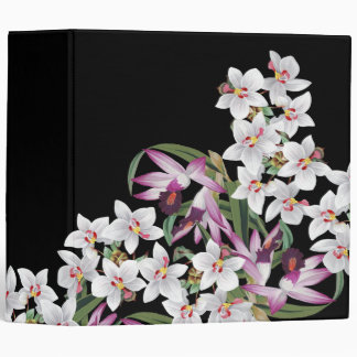 Tropical White Lavender Orchid Flowers Binder