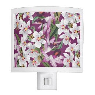 Tropical White Lavender Orchid Flowers Night Light