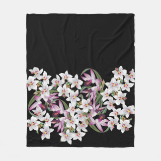 Tropical White Orchid Flowers Fleece Blanket