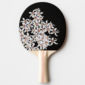 Tropical White Orchid Flowers Floral Paddle Ping-Pong Paddle