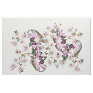 Tropical White Orchid Flowers Islands Fabric