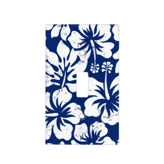 Tropical worn white hibiscus light switch cover