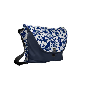 Tropical worn white hibiscus messenger bags